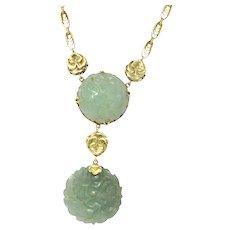 Enchanting Art Nouveau Carved Jade 14K Gold Drop Necklace