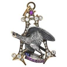 Anheuser Busch 1919 Diamond Ruby Enamel Sterling Silver 14 Karat Gold Eagle Pendant
