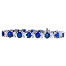 Contemporary 27.20 CTW Sapphire Diamond 18K White Gold Bracelet