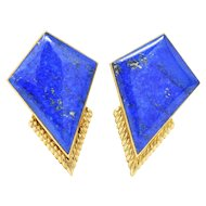 Exquisite Ming's Contemporary Lapis Lazuli 14K Gold Ear-Clips