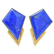 Exquisite Ming's Contemporary Lapis Lazuli 14K Gold Ear-Clips