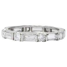 Vintage 1.45 CTW Diamond Platinum Eternity Stackable Band Ring