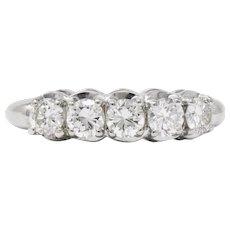 Vintage 1.00 CTW Diamond 14 Karat White Gold 5 Stone Ring