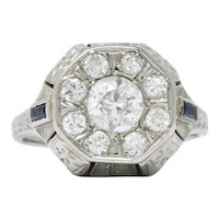 Art Deco 0.85 CTW Diamond Synthetic Sapphire 18 Karat White Gold Cluster Ring