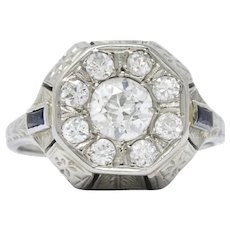 Art Deco 0.85 CTW Diamond Synthetic Sapphire 18 Karat White Gold Cluster Ring