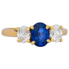 1.55 CTW Sapphire Diamond 14 Karat Gold Alternative Engagement Ring