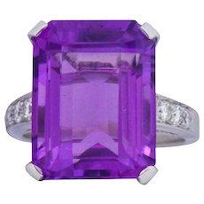 Modern 11.00 CTW Amethyst Diamond Platinum Cocktail Ring