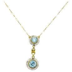Retro 4.75 CTW Blue Zircon Seed Pearl 14 Karat Gold Drop Necklace