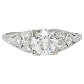 1930's 1.60 CTW Diamond Platinum Engagement Alternative Ring, GIA