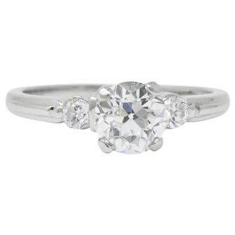 Retro 1.09 CTW Diamond Platinum Engagement Alternative Ring GIA
