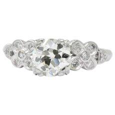 1940's 1.21 CTW Diamond Platinum Engagement Alternative Ring GIA