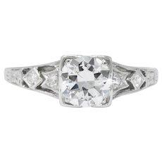 Art Deco 0.84 CTW Diamond Platinum Engagement Alternative Ring GIA