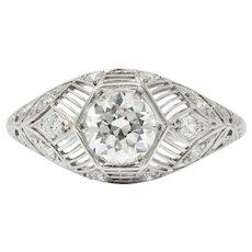 Art Deco 1.25 CTW Diamond Platinum Engagement Alternative Ring GIA