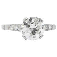 Art Deco 1.83 CTW Diamond Platinum Engagement Ring GIA