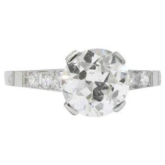 Art Deco 1.83 CTW Diamond Platinum Engagement Ring GIA