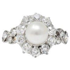 J.E. Caldwell Edwardian 1.50 CTW Natural Pearl Diamond Platinum-Topped 14kt Gold Ring