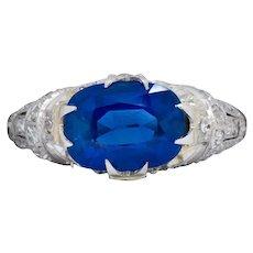 Fine Art Deco 2.94 CTW No Heat Kashmir Sapphire Diamond Platinum Ring AGL