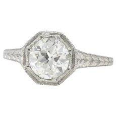 Splendid Art Deco 1.30 CTW Diamond Platinum Solitaire Engagement Ring GIA