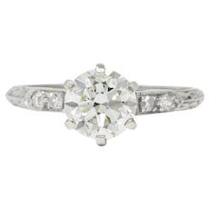 1930's 1.14 CTW Diamond Platinum Engagement Ring GIA