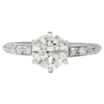1930's 1.14 CTW Diamond Platinum Engagement Ring GIA