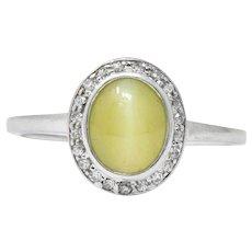 Bailey Banks & Biddle Art Deco 2.30 CTW Cat's Eye Chrysoberyl Diamond Platinum Ring