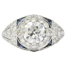 Art Deco 2.40 CTW Diamond Sapphire Diamond Alternative Engagement Ring GIA