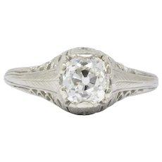 Art Deco 0.92 CTW Diamond 18 Karat White Gold Solitaire Engagement Ring GIA