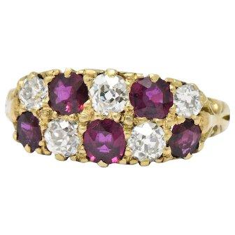 Vivid D & F Victorian 2.05 CTW Diamond Ruby 18 Karat Gold Ring