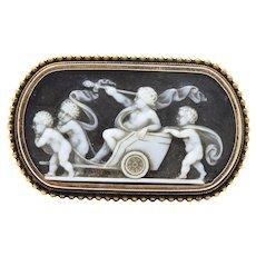 T. B. Starr Victorian Hardstone 14 Karat Rose Gold chariot Cameo Brooch