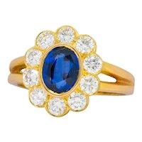 Oscar Heyman Bros. 2.00 CTW Sapphire Diamond 18 Karat Gold Cluster Ring