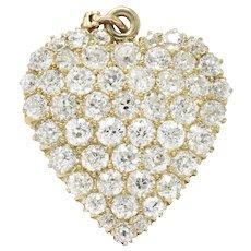 Fine Edwardian 3.50 CTW Diamond 14 Karat Gold Heart Pendant Brooch