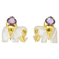 Contemporary Mother-Of-Pearl Amethyst Diamond 18 Karat Gold Elephant Earrings