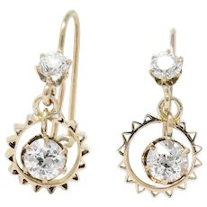 Victorian 1.30 CTW Diamond 14 Karat Rose Gold Drop Earrings