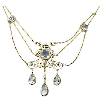 Victorian 10.00 CTW Aquamarine Seed Pearl 14 Karat Gold Swag Necklace