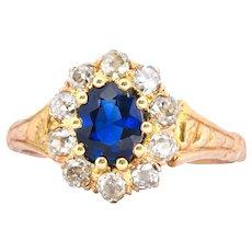 Victorian 1.57 CTW Sapphire Old Mine Cut Diamond 14 Karat Gold Cluster Alternative Ring
