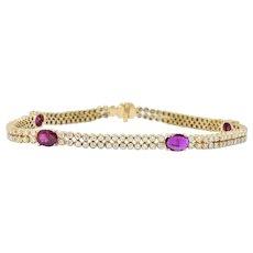 Contemporary 8.75 CTW Ruby Diamond 14 Karat Gold Bracelet