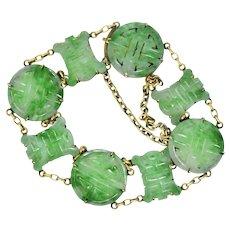 Marvelous Art Nouveau Carved Jade 14 Karat Gold Link Bracelet