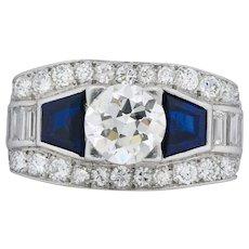1930's 4.20 CTW Diamond Sapphire Alternative Engagement Ring