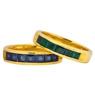 2 Contemporary 5.50 CTW Sapphire Emerald 18 Karat Gold Men's Band Rings