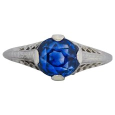 Edwardian 2.91 Carat No Heat Ceylon Sapphire 18 Karat White Gold Ring AGL
