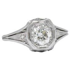 Vintage Art Deco 0.73 CTW Diamond Platinum Engagement Ring