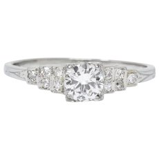 1930's 0.64 CTW Diamond 18 Karat White Gold Engagement Ring