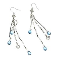 David Yurman Diamond Blue Topaz Pearl Sterling Silver Confetti Earrings
