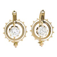 Victorian 1.95 CTW Diamond 14 Karat Rose Gold Drop Earrings GIA
