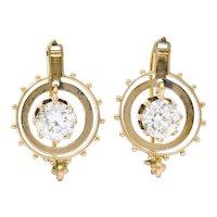 Victorian 1.95 CTW Diamond 14 Karat Rose Gold Drop Earrings GIA