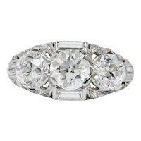 Art Deco 3.75 CTW Diamond Platinum Three Stone Band Ring GIA