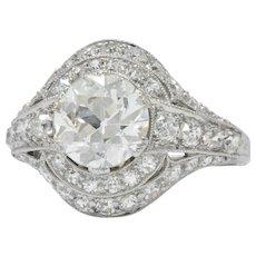 Stunning J.E.Caldwell Art Deco 2.81 CTW Diamond Engagement Ring GIA