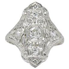 1930's 0.35 CTW Diamond Platinum Art Deco Dinner Ring