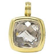 David Yurman Smoky Quartz Sterling Silver 18 Karat Gold Pendant