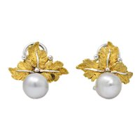 Vintage Buccellati Retro Cultured Pearl 18 Karat Gold Ear-Clips